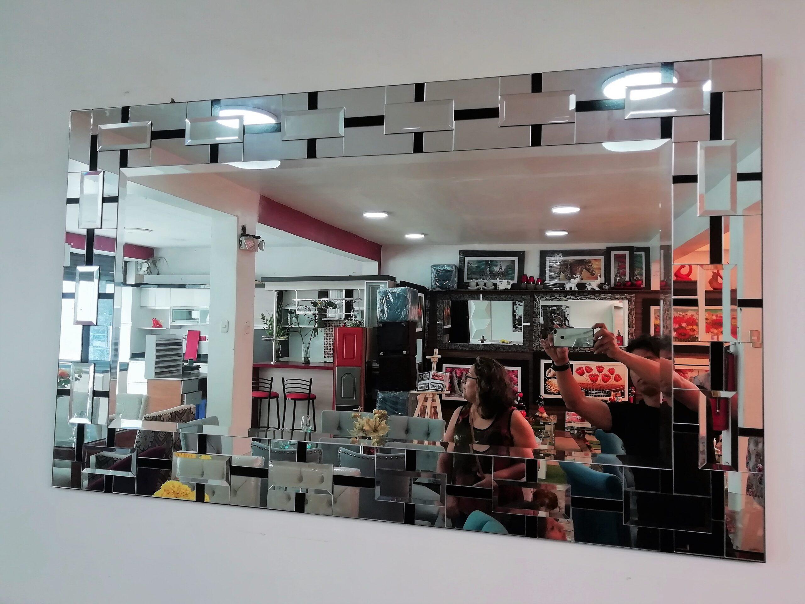 espejos decorativos con bordes de rectángulos