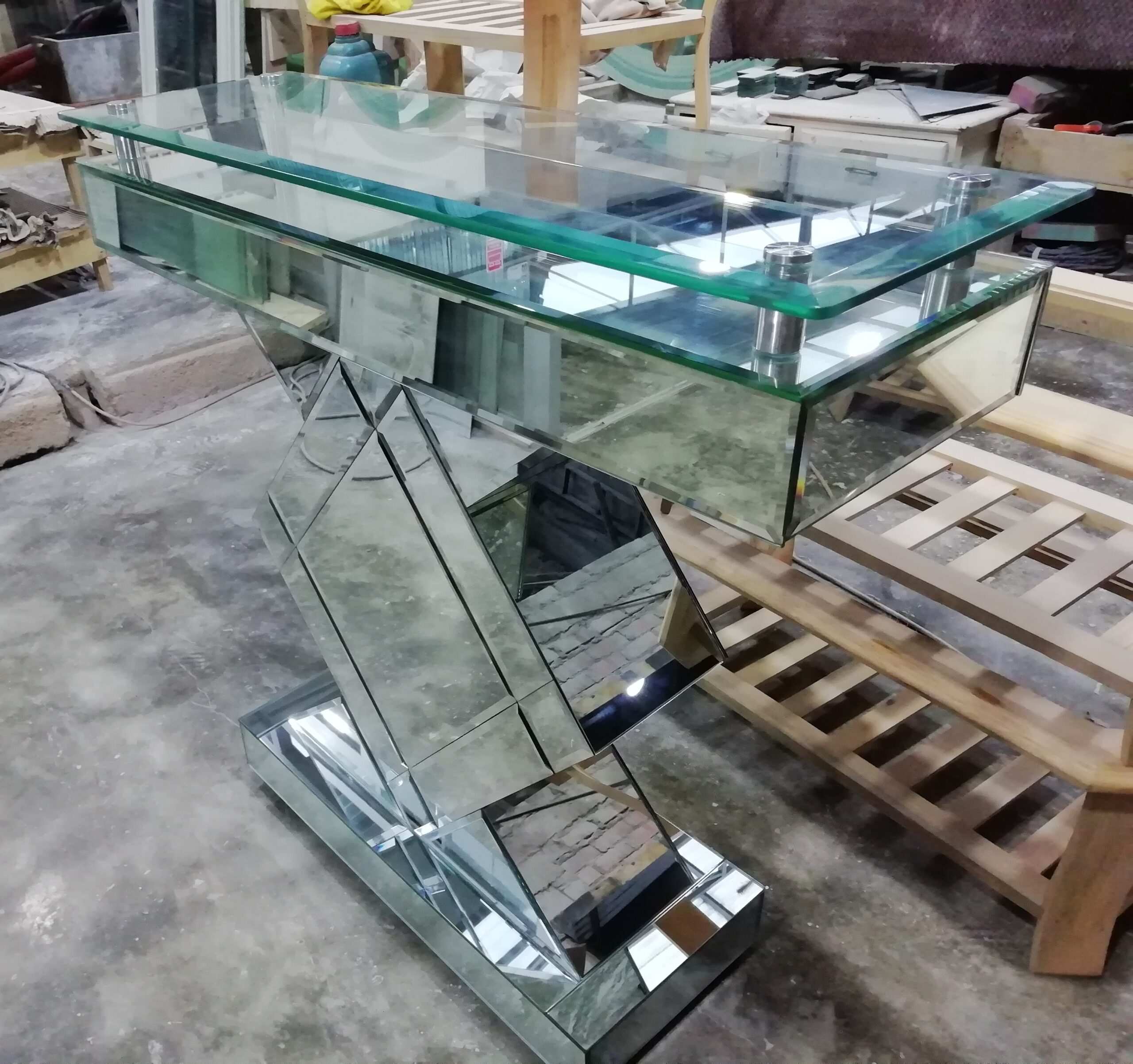 mesas de centro con tablero de cristal